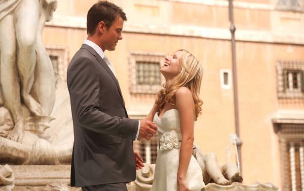 Classic Romantic Movie Scene: When In Rome's Beth and Nick. Spotlighting a romantic scene in this charming rom-com! Text © Rissi JC