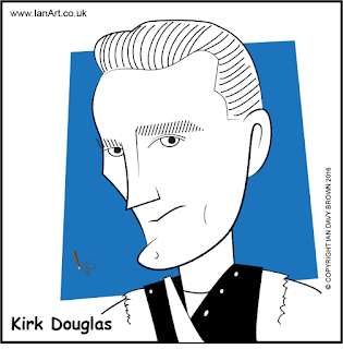 Kirk Douglas caricature by Ian Davy Brown