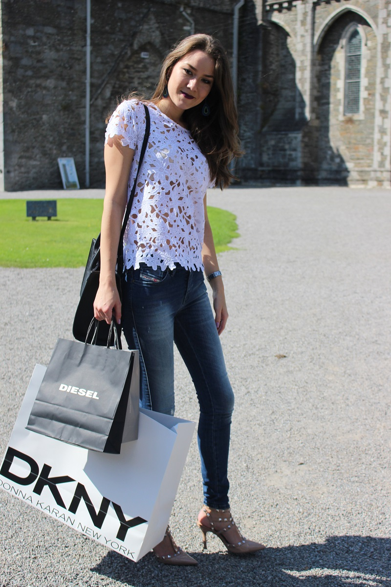 crochet white t-shirt, kildare village, shopping, outlet shopping, ootd