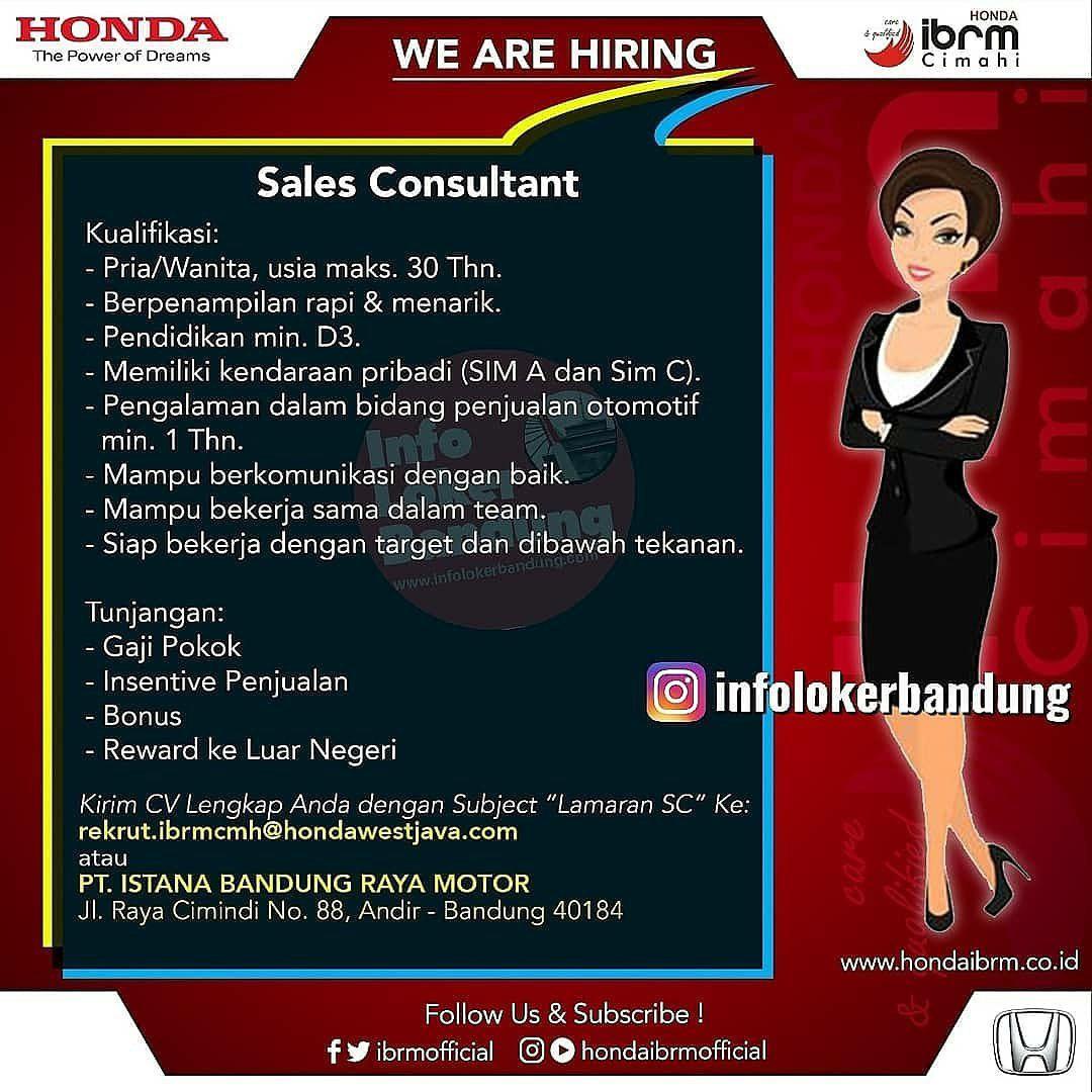 Lowongan Kerja Sales Consultant Honda IBRM Cimahi Oktober ...