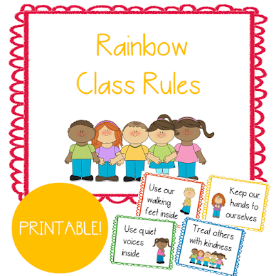 These printable class rules help young preschool and early elementary students understand what is expected of them and how to behave at school.