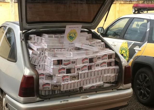 Manoel Ribas: PM apreende veículo com cerca de 1.250 maços de cigarro