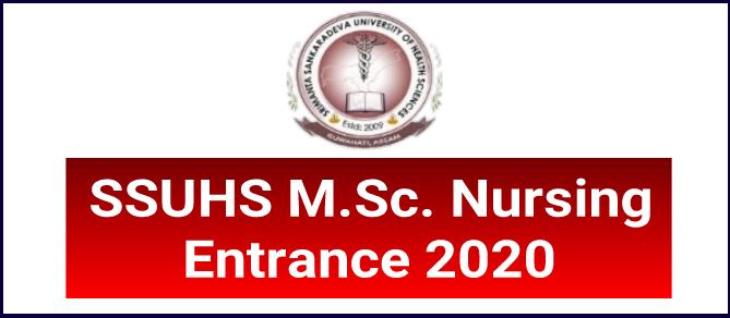 SSUHS M.Sc Nursing Entrance 2020