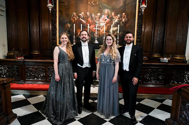 Finalists of the 2021 London Handel Singing Competition: Bethany Horak-Hallett, Hilary Cronin, Kieran Rayner, Felix Kemp (Photo Chris Christodoulou)