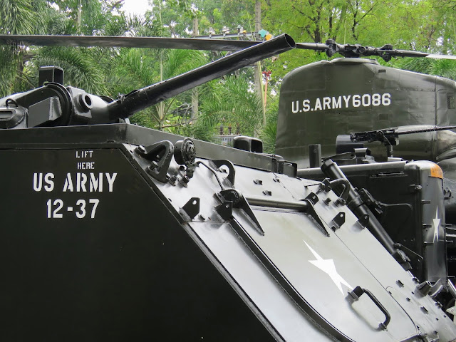 U.S. Army helicopter and tank outside the War Remnants Museum in Ho Chi Minh City Vietnam