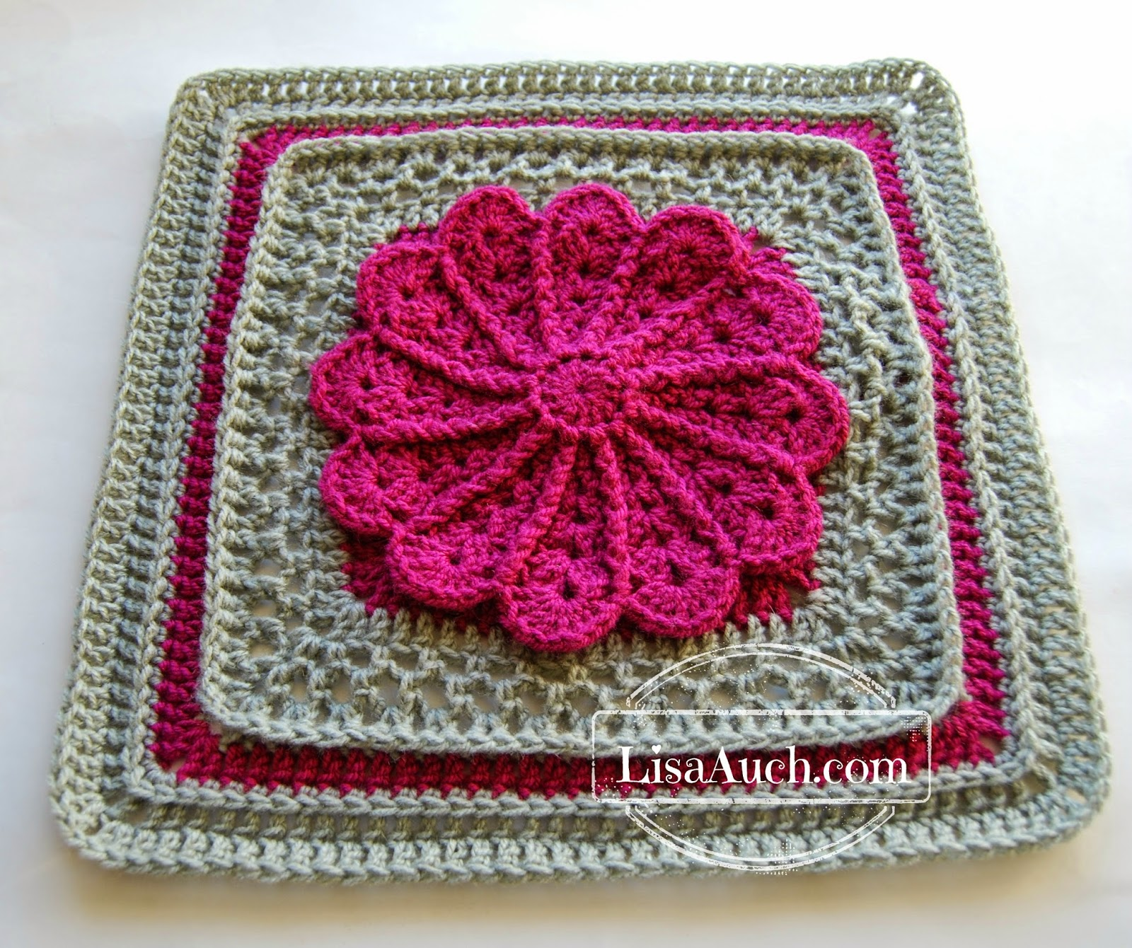 A free crochet 12 inch Square afghan pattern Pane in my Dahlia