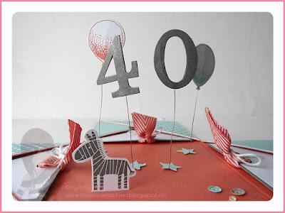 Stampin' Up! rosa Mädchen Kulmbach: Explosionsbox zum 40. Geburtstag mit Zoo Babies Zebra, Schleifenstanze, Distressed Dots, Partyballons und Wimpeleien