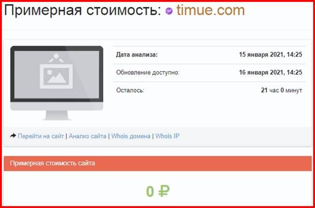 Информация о сайте Timue
