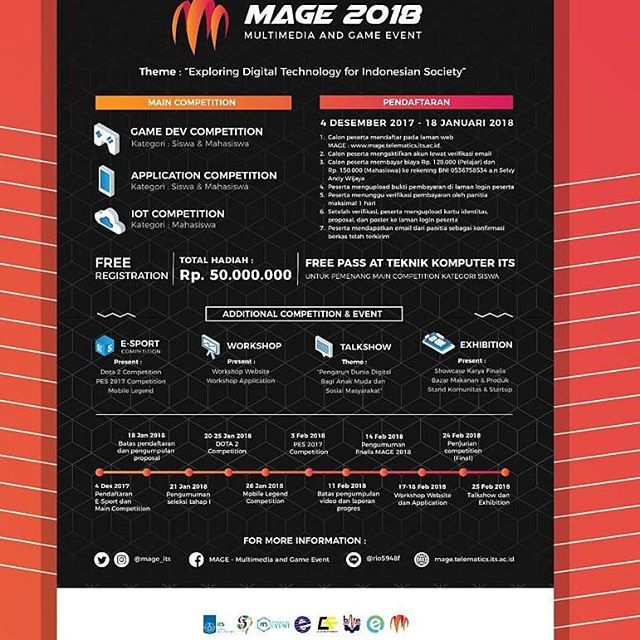 Event Multimedia And Game (MAGE) 2018 Untuk Umum | Institut Teknologi Sepuluh November | Deadline 18 Januari 2018