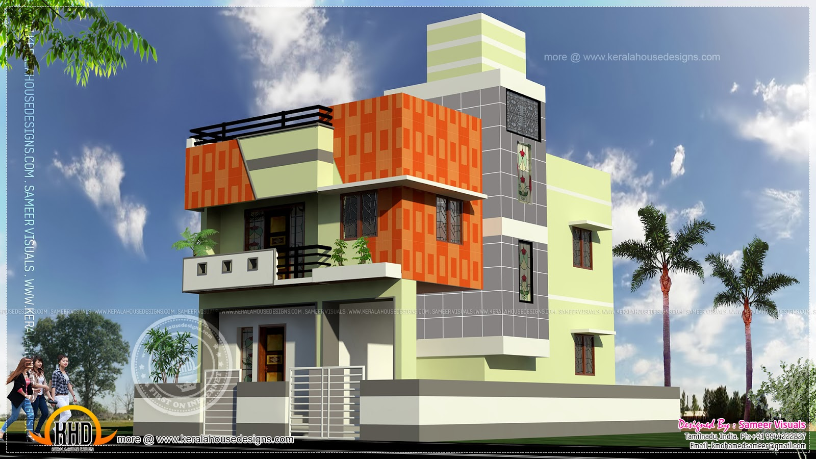 Tamilnadu style flat roof home house specification