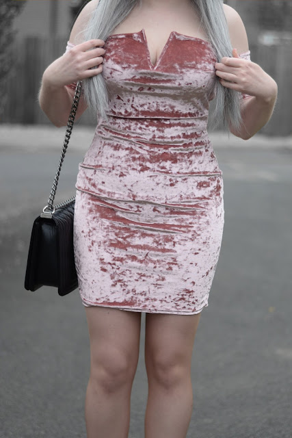 Sammi Jackson - Black Primark Fedora, Zaful Sunglasses, Missguided Pink Crushed Velvet Bardot Dress, Oasap Quilted Bag, Topshop Alexy Ankle Boots