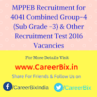 MPPEB Recruitment for 4041 Combined Group-4 (Sub Grade -3) Stenographer , Steno-typist , DEO & IT Operator Recruitment Test 2016 Vacancies