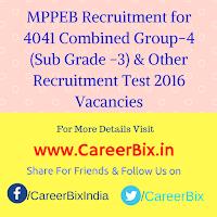 MPPEB Recruitment for 4041 Combined Group-4 (Sub Grade -3) Stenographer , Steno-typist , DEO & IT Operator Recruitment Test 2016 Vacancies