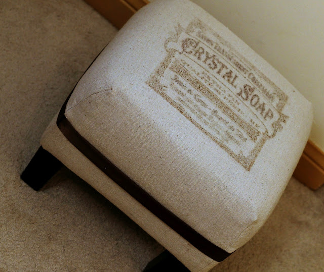 Vintage Footstool with Freezer Paper Transfer