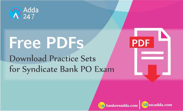 English Language Practice Set for Syndicate Bank PO 2018| Download PDF