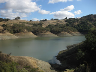 Low water level in the Guadalupe Reservoir, Almaden, California