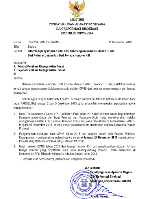Informasi Pengumuman Hasil Tes K2 Pengumuman Penerimaan Pendaftaran Tes Cpns Online 2016 Pengumuman Hasil Tes Cpns Honorer K2 Januari 2014 174; Sehat Kita Semua