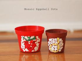 mosaic eggshell pots- fun kids craft idea for Easter