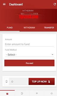 Picture on how to fund wallet on Amitoget app