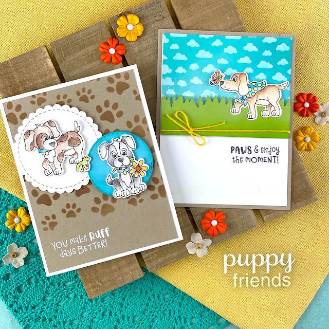 Puppy cards by Jennifer Jackson | Puppy Friends Stamp Set, Petite Clouds Stencil, Pawprints Stencil, Land Borders Die Set and Circle Frames Die Stamp Set by Newton's Nook Designs #newtonsnook