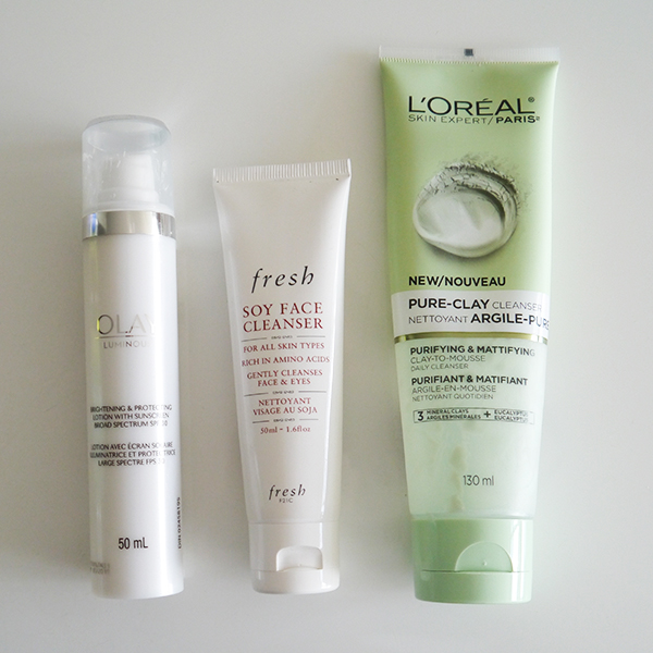 Olay Moisturizer, Fresh Soy Face Cleanser, L'Oreal Pure-Clay Cleanser
