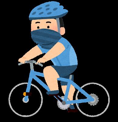 バフを付けてサイクリングする人のイラスト(男性)