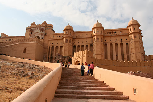 Outside view of Amber fort stairs near parking of vehicles