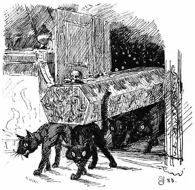 a Frederik Hendriksen 1884 drawing of black cats carrying a coffin