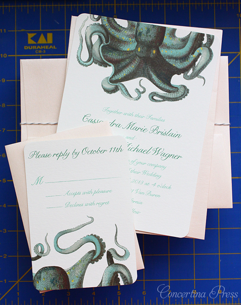 Beautiful Marine Life Wedding Invitations Featuring Octopus from Concertina Press