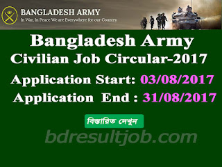 Recruitment Advertisement for Civilian Posts in Bangladesh Army