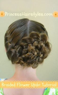 Braided #flower #updo hair tutorial.