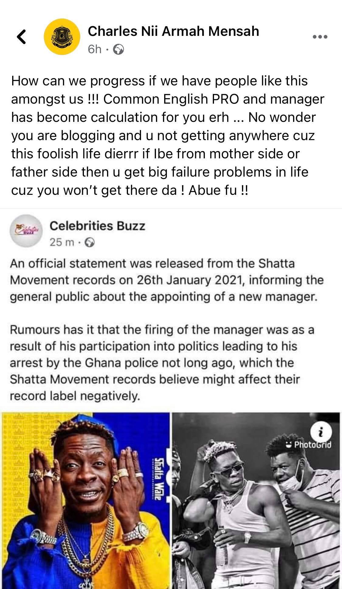 shatta wale blasts Celebritiesbuzz