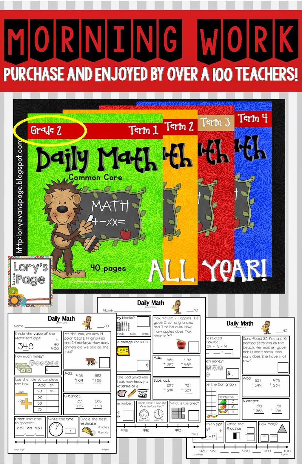 Lory S 2nd Grade Skills Daily Math Update