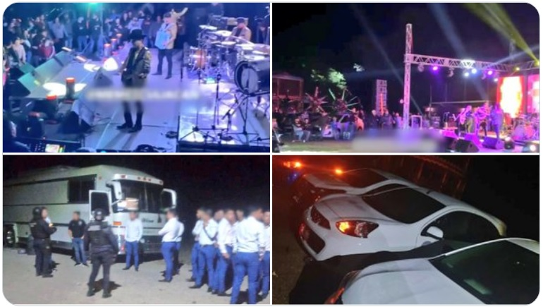 """Video: Así era la NARCO Posada de """"Los Chapitos"""" (quienes salieron corriendo) con mil asistentes, donde se rifarían autos 2021"""