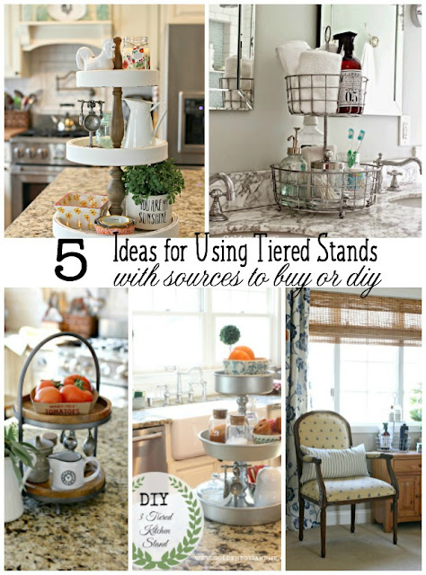 Ideas for using tiered stands for organization all over the house