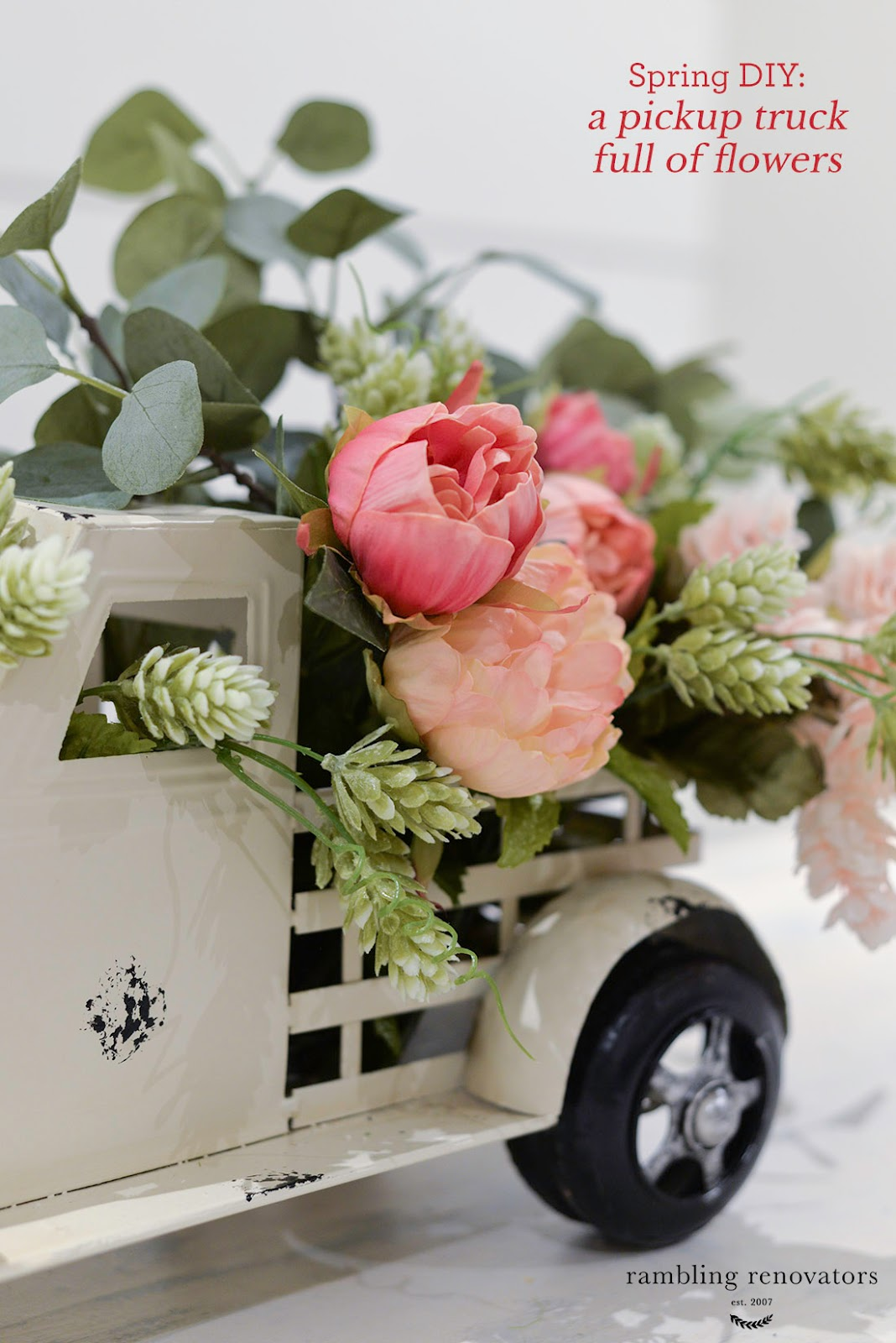 spring DIY, pickup truck planter, tips on arranging faux flowers