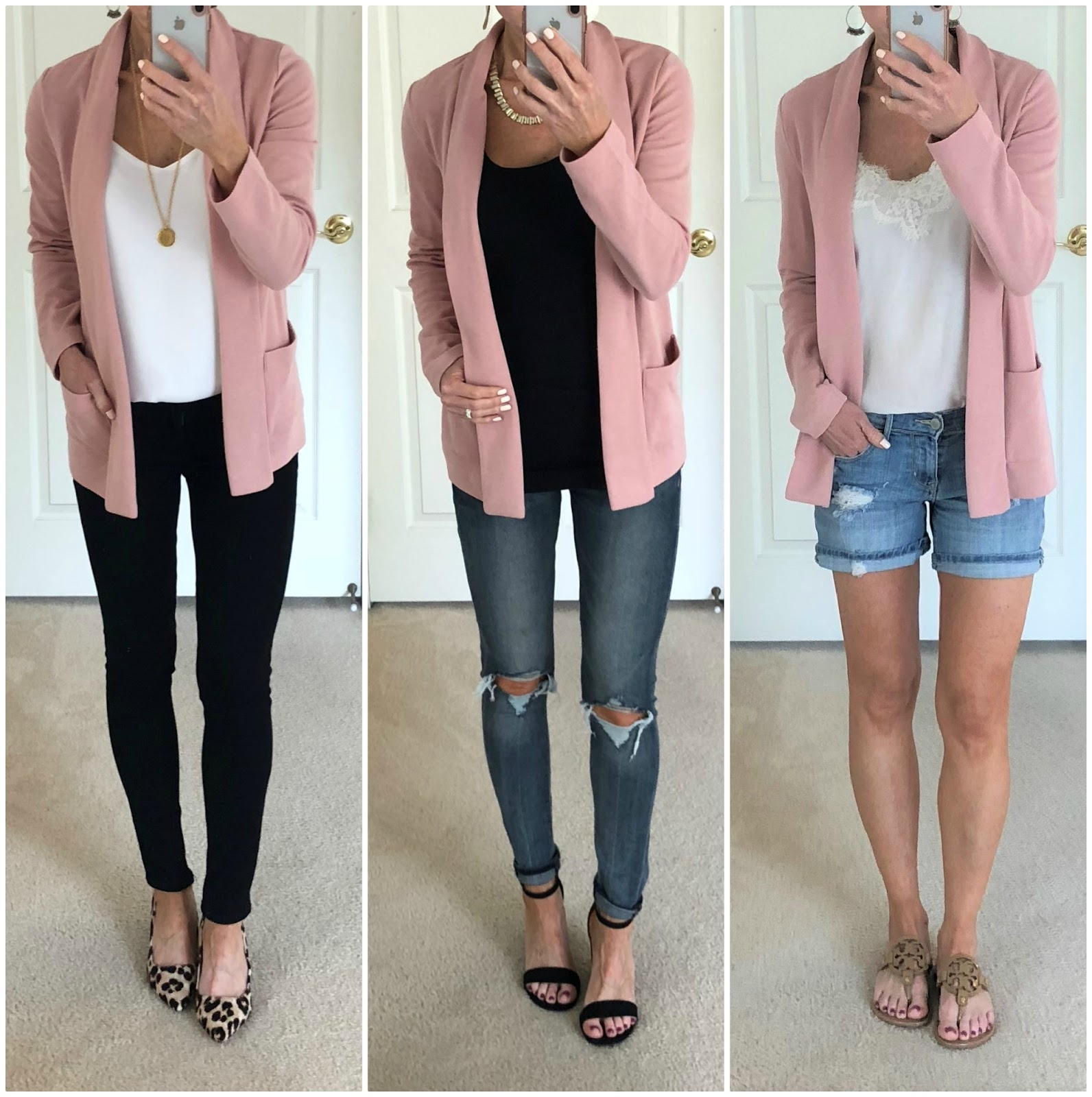 269d80516 ONE: Jacket | Similar Cami | Black Jeans | Necklace | Leopard Pumps TWO:  Pink Jacket | Black Tank | Similar Jeans | Sandals THREE: Pink Jacket |  Lace Trim ...
