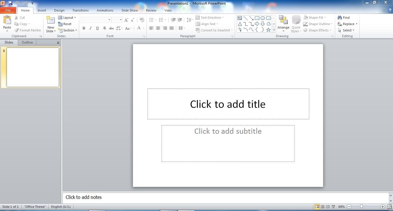 Giao diện cửa sổ làm việc của Microsoft PowerPoint 2010