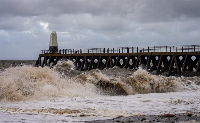 Photo of wild waves by Maryport Pier