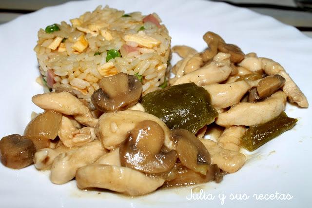 Pollo con champiñones. Julia y sus recetas