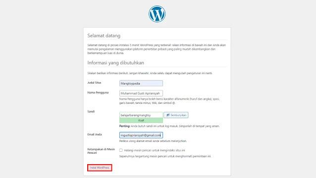 Lengkapi Informasi WordPress