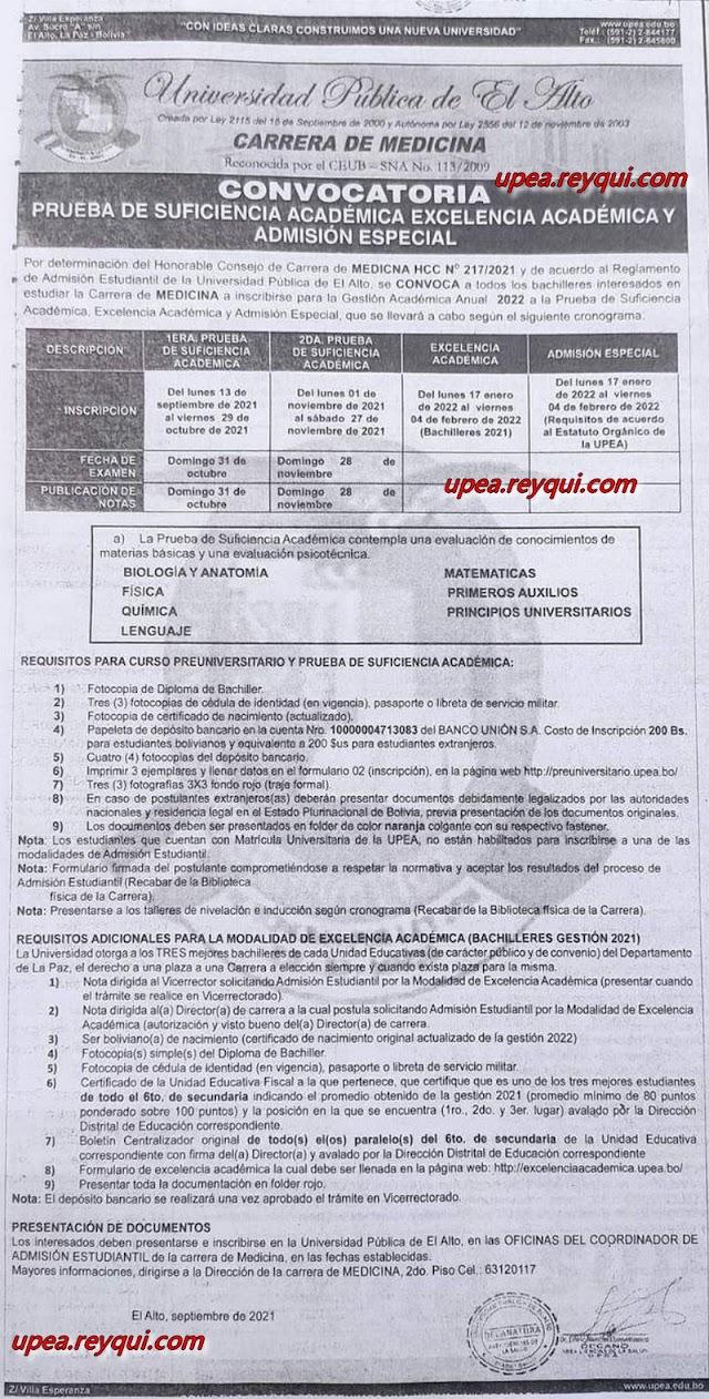 Medicina UPEA 2022: Convocatoria a la Prueba de Suficiencia Académica, Excelencia Académica y Admisión Especial