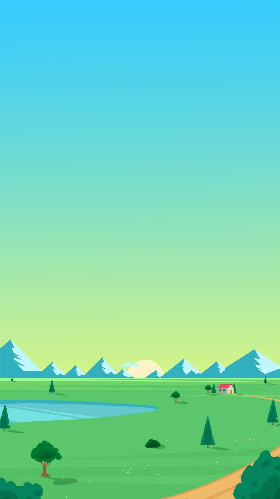 minimalist rural landscape wallpaper for phone in 4K resolution