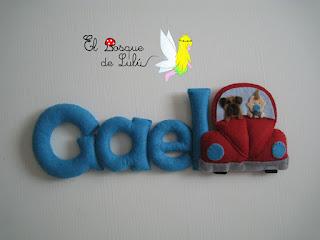 nombre-fieltro-Gael-elbosquedelulu-felt-feltro-regalo-nacimiento-hechoamanoparati-babyroom-decoración-infantil-regalo-personalizado