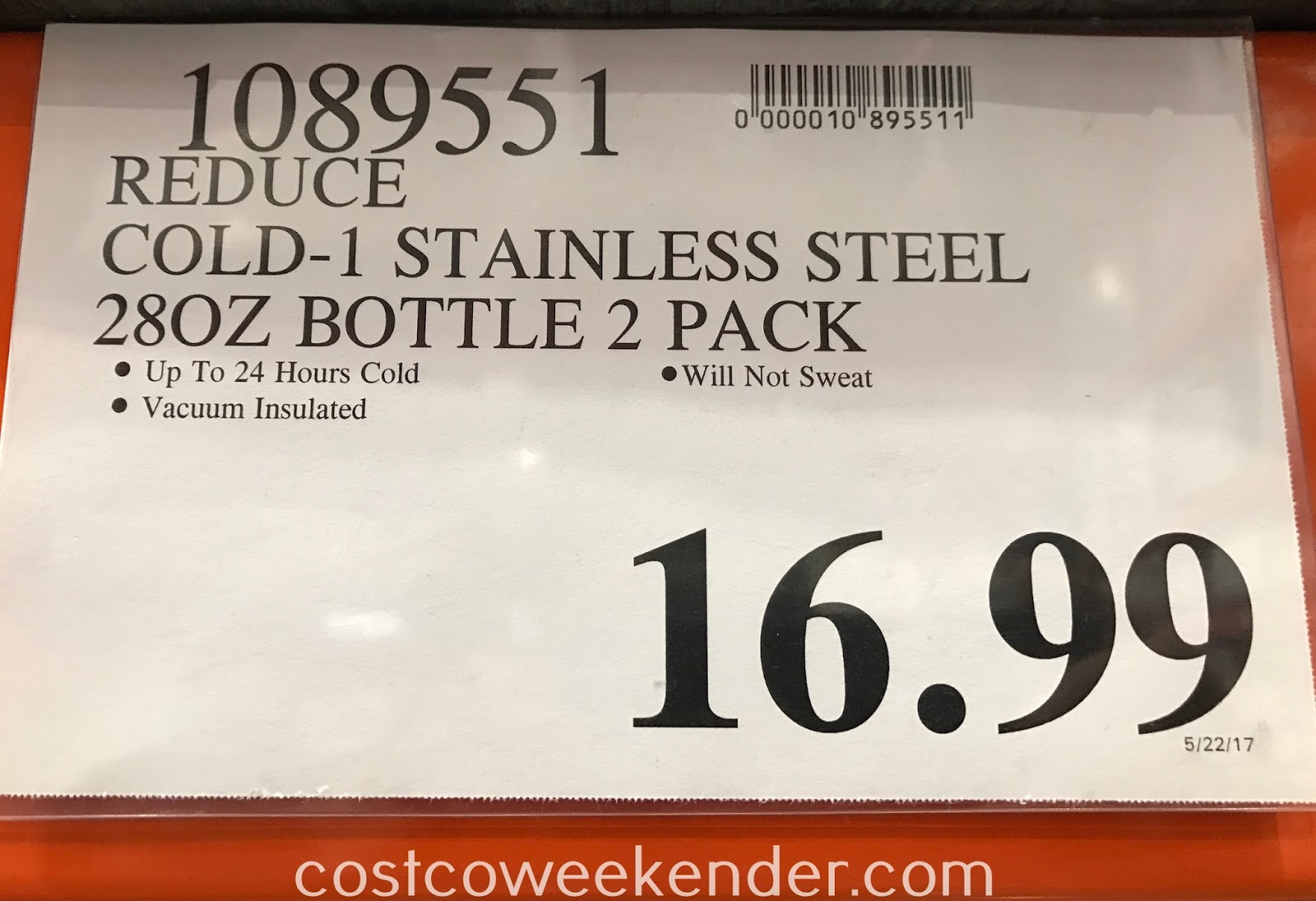 Deal for the Reduce Cold-1 Stainless Steel Insulated Bottle 2 pack at Costco