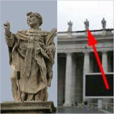 Statue of Saint Spyridon, South Collonade, St. Peters Rome. Sculptor - Lazzaro Morelli Statue created - c. 1668-1670