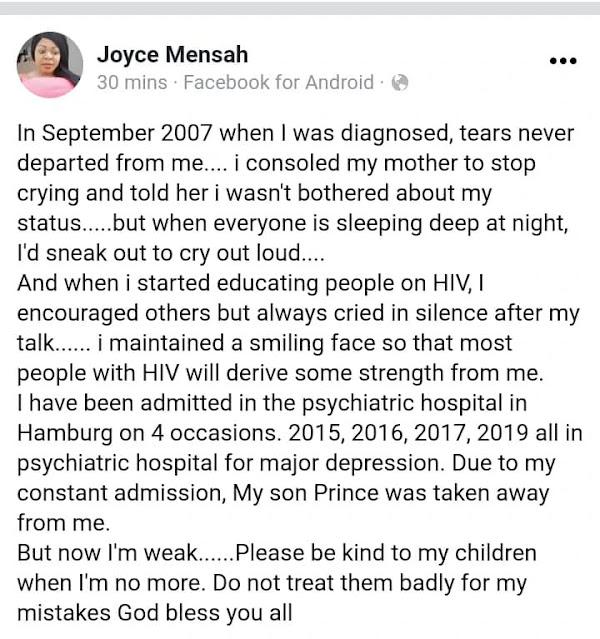 Be kind to my kids when i am no more- HIV positive actress, Joyce Dzidzor Mensah pens down an emotional note