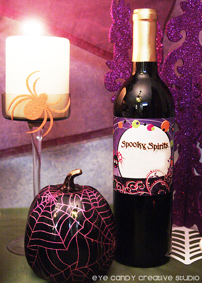 spooky spirits, pumpkin, wine bottle, halloween table decor