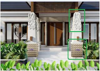 Ukiran batu alam untuk tiang pilar rumah bagian bawah