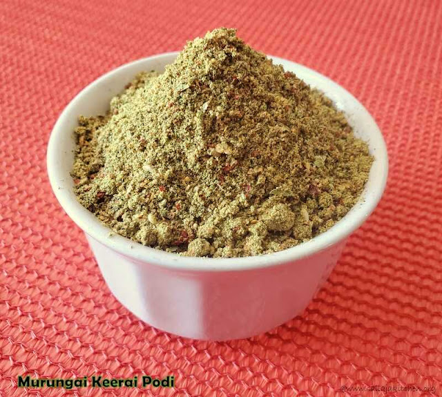 images of Murungai Keerai Podi Recipe / Murungai Ilai Podi / Moringa leaves Spice Powder / Drumstick Leaves Podi - Podi Varieties